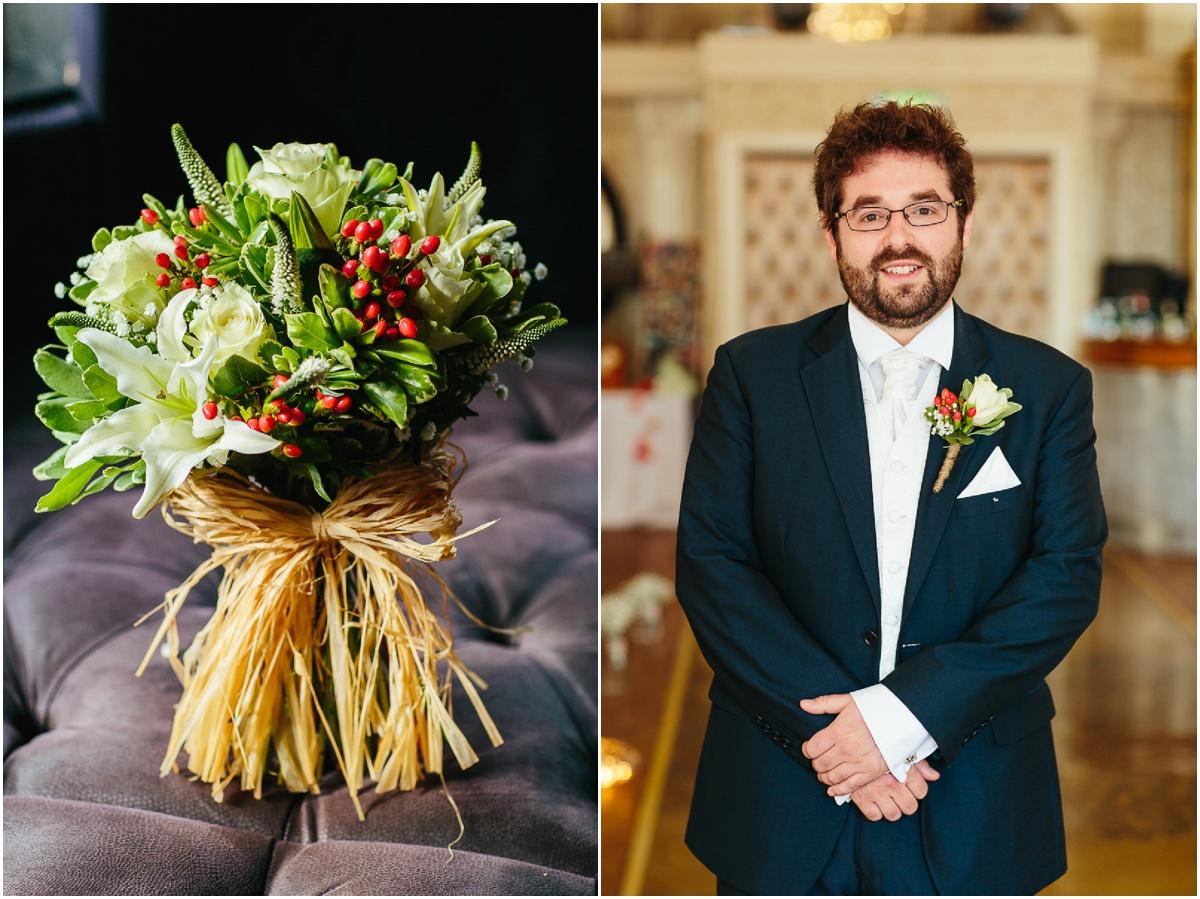 grooms men and flowers st james street liverpool wedding