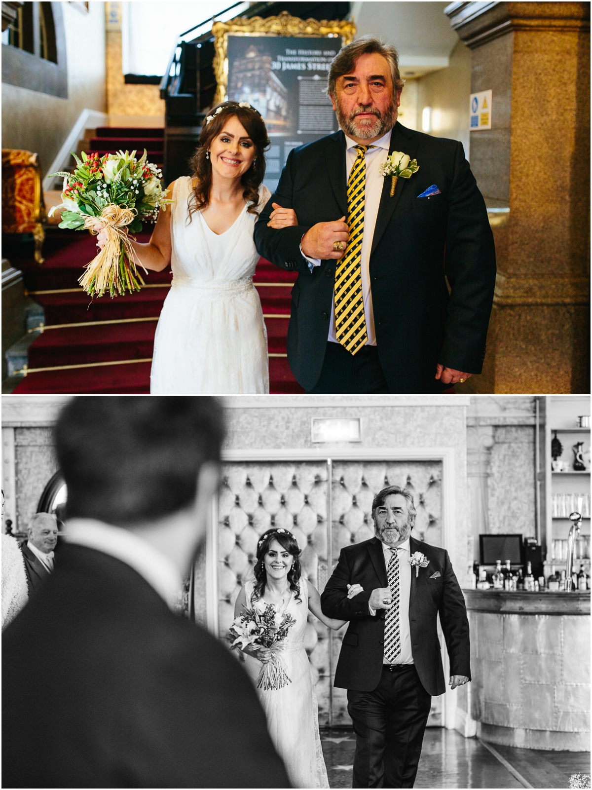 bride and dad at st james street liverpool