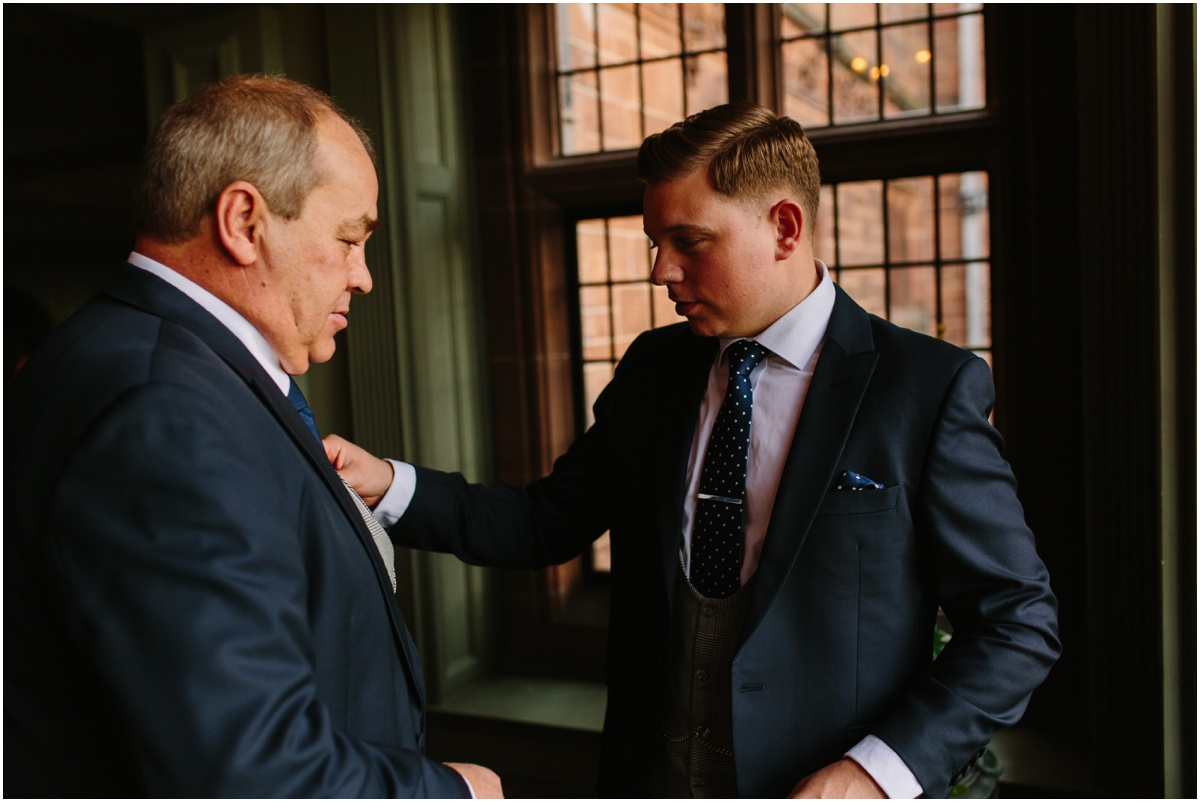 groom and dad at thornton manor cheshire