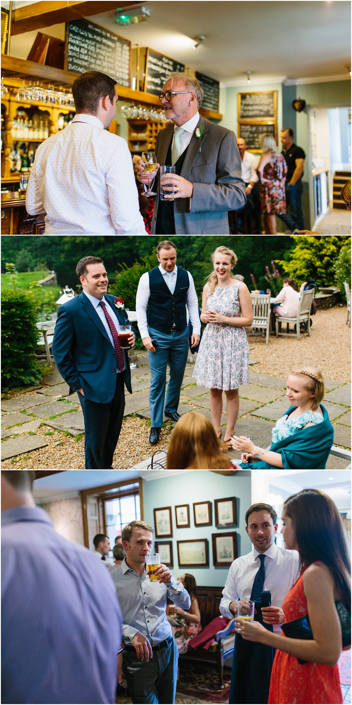 family and friends talking at the inn at whitewell wedding venue