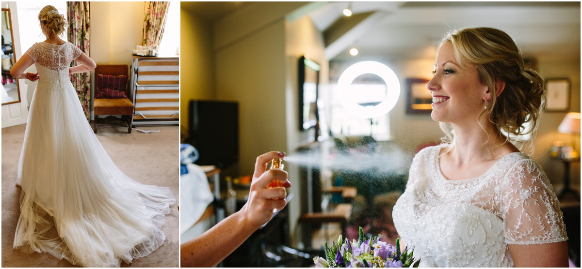 Bride in her wedding dress at inn at whitewell lancashire