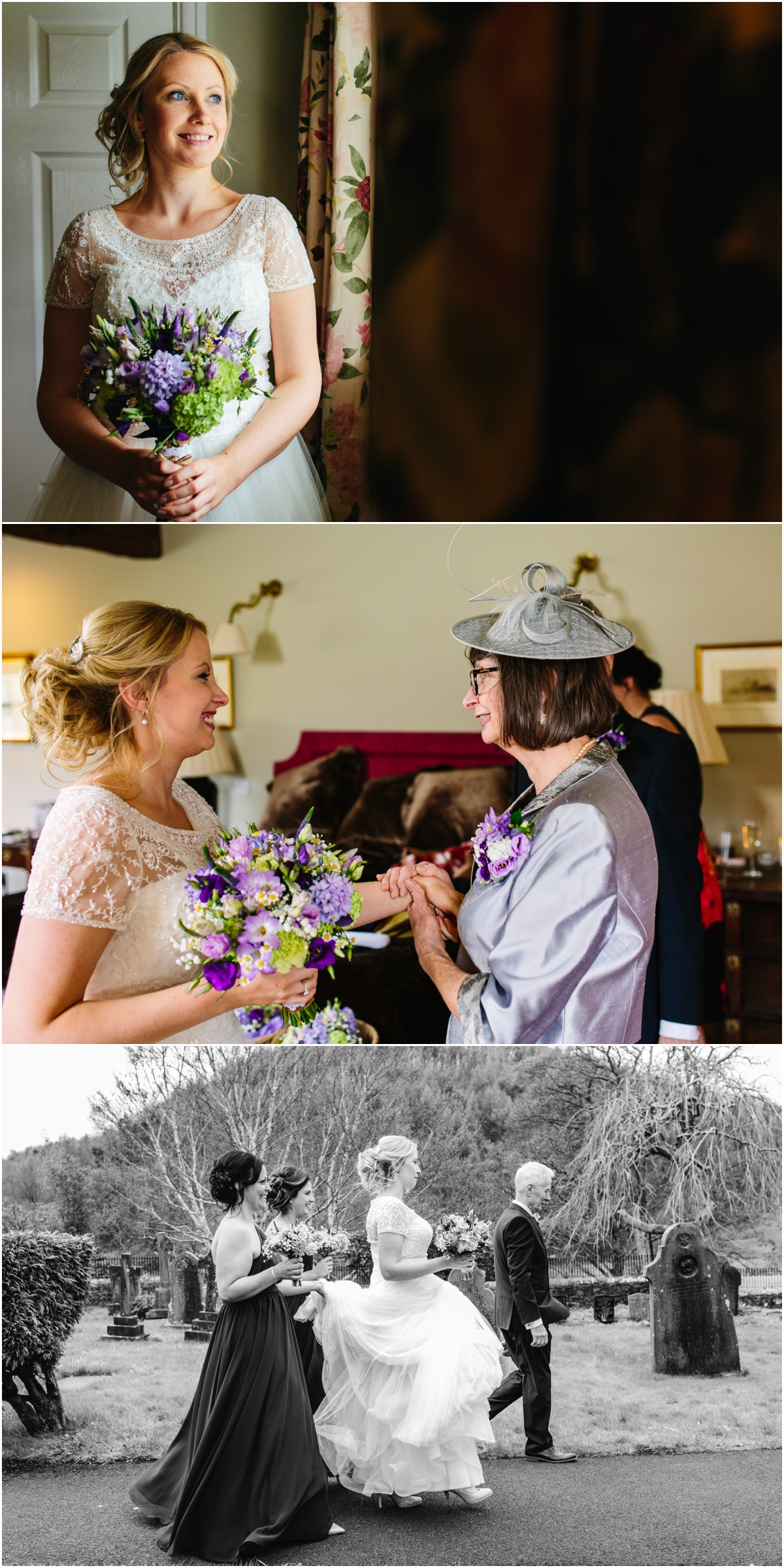 bride and her family before she got married at the inn at whitewell ribblevalley