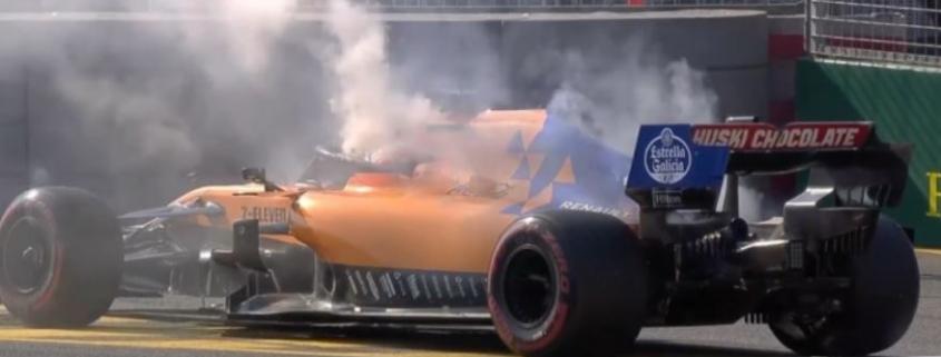 Carlos Sainz McLaren on fire australian grand prix 2019