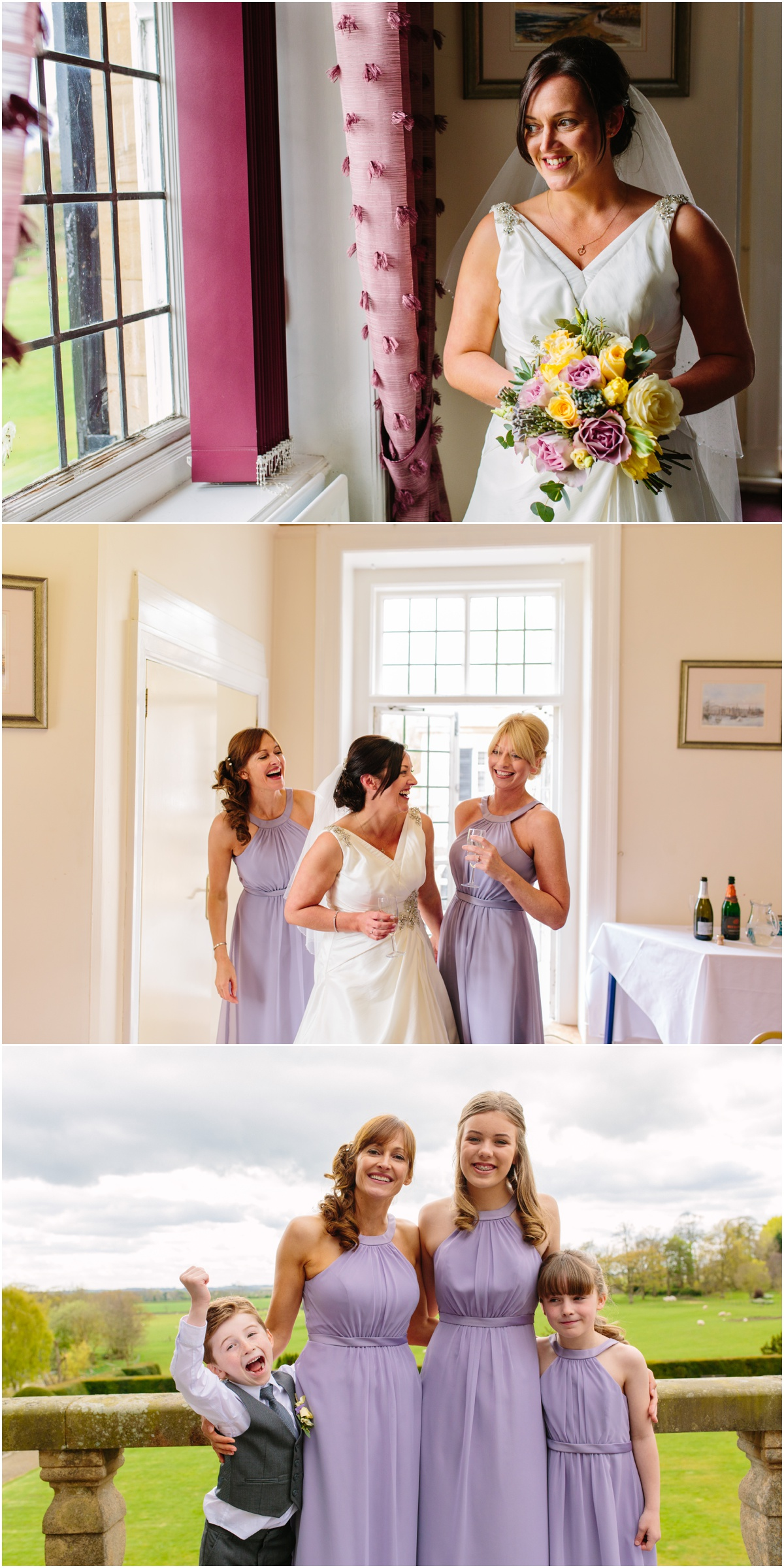 bride and brides maids getting ready kirkley hall newcastle wedding photography
