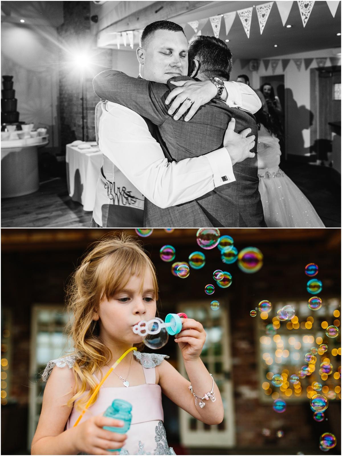 little girl blowing bubbles wedding chornock farm