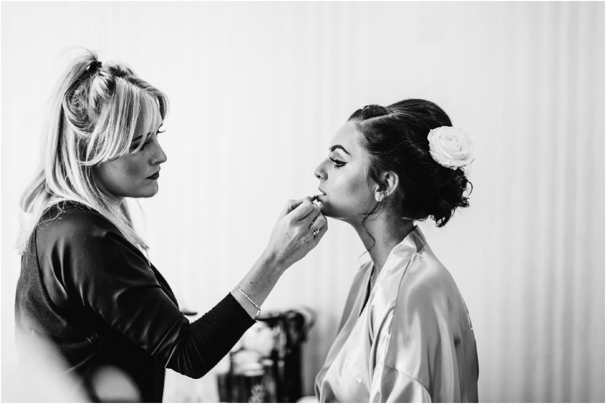 award winning Lancashire wedding photographer briades maid getting ready