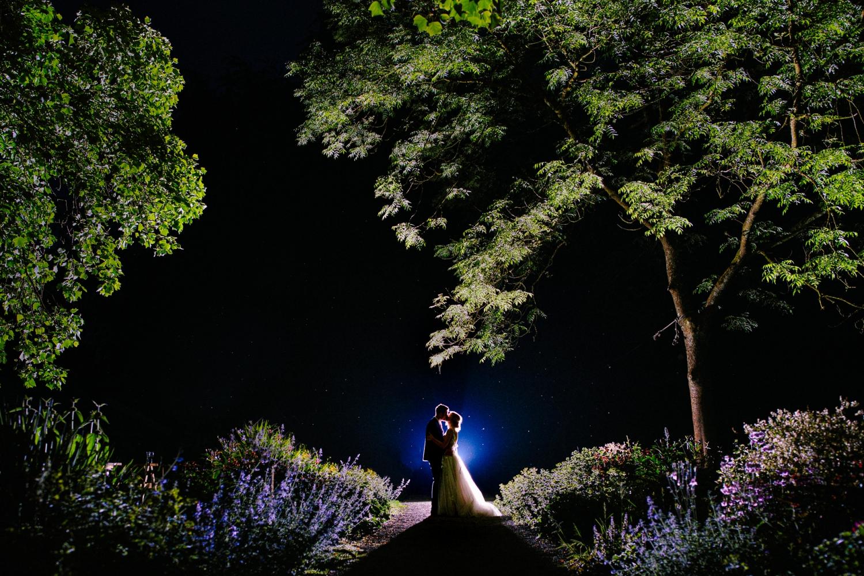 bride and groom posing in wedding venue garen wyresdale park