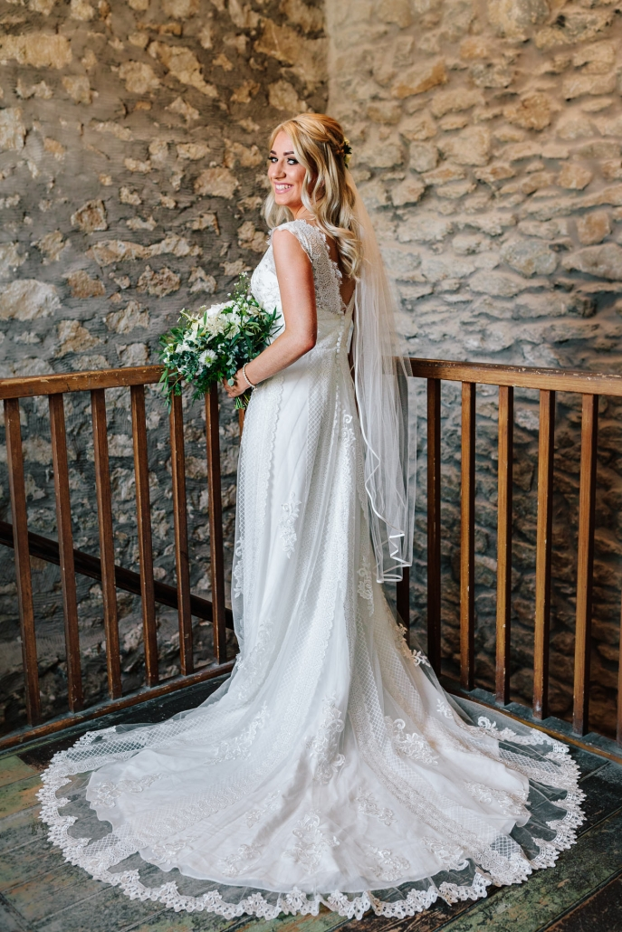 bride in wedding dress at hgolmes mill