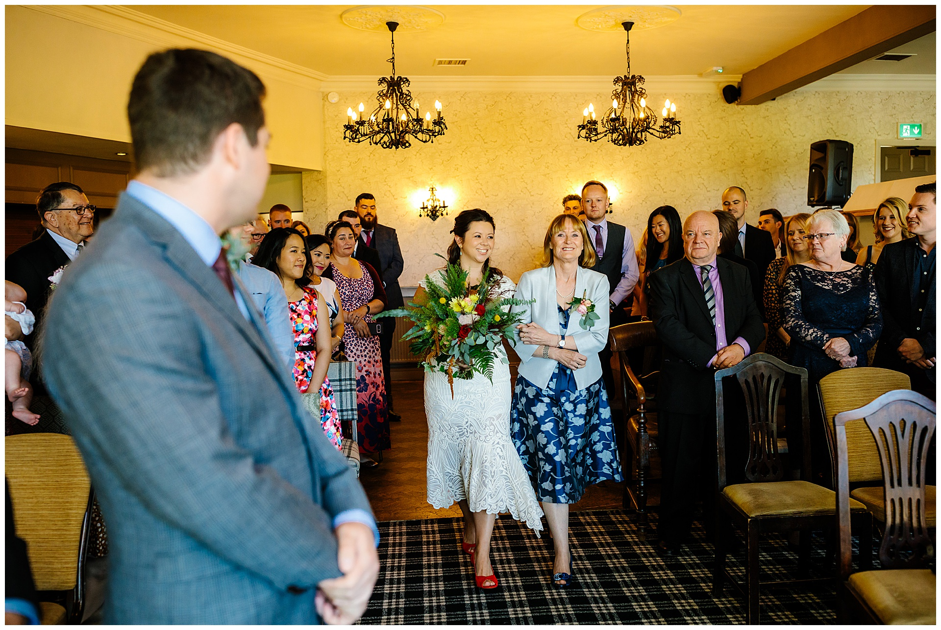 Bride walking down the ceremony wedding ribble valley