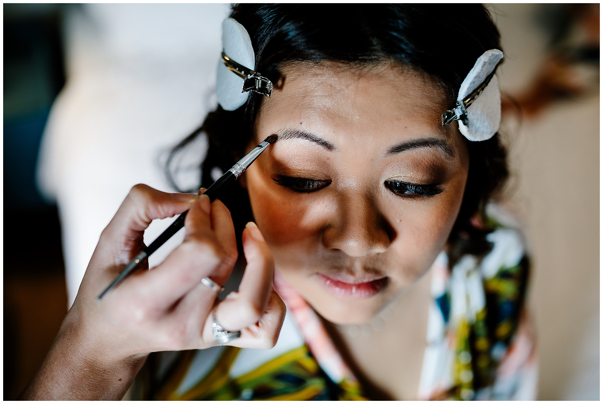 bride getting ready at award winning wedding venue