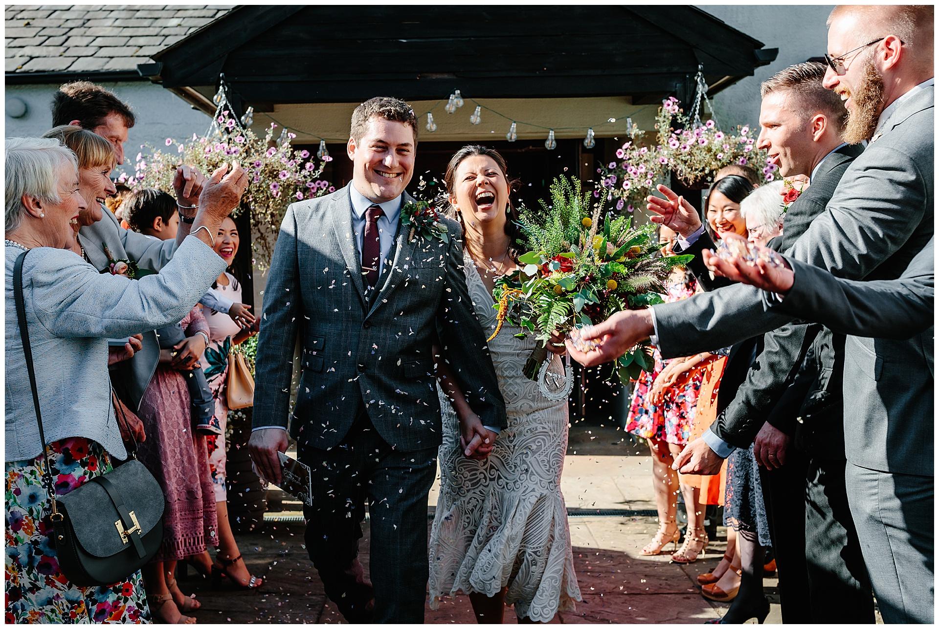 confetti photo at the wedding venue ribble valley