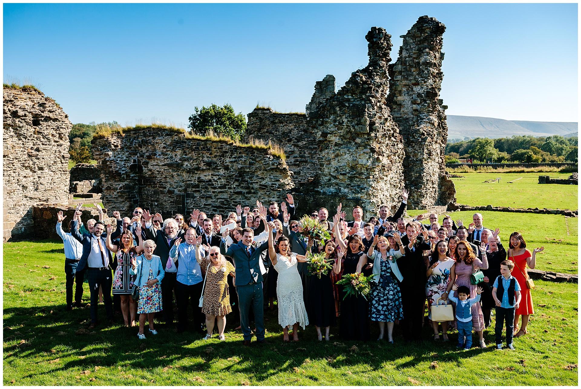 Lancashire wedding photographer goup photos at wedding venue