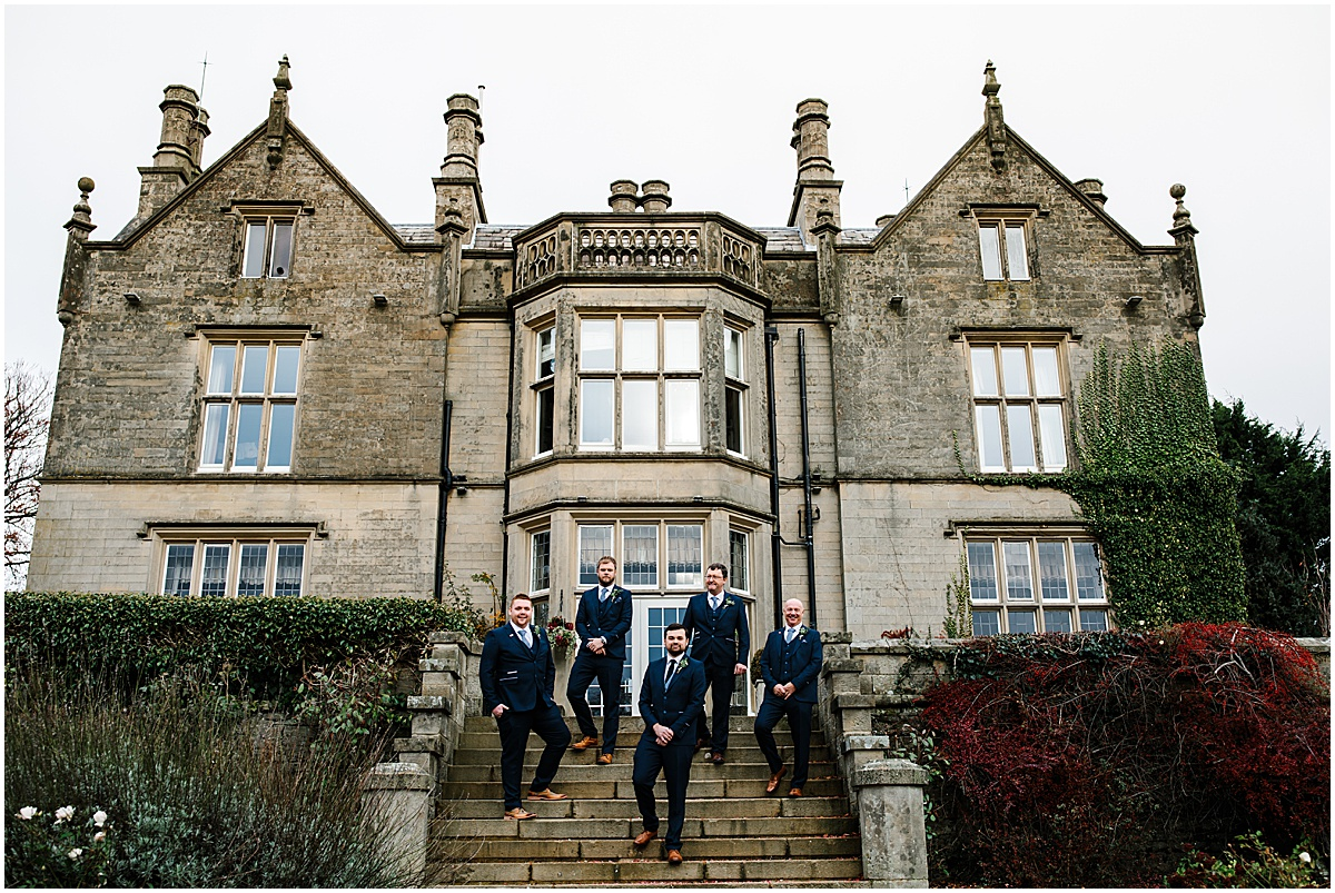 grooms men at folkon manor wedding venue