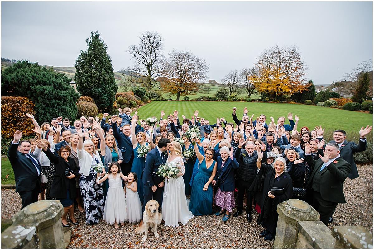 group photo wedding venue